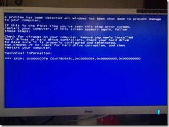 WindowsXPインストールでブルー・スクリーン